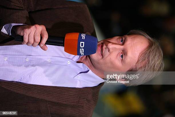 Sport commentator Uwe Semrau of DSF television channel speaks before the Handball Bundesliga match between TBV Lemgo and Fuechse Berlin at the...