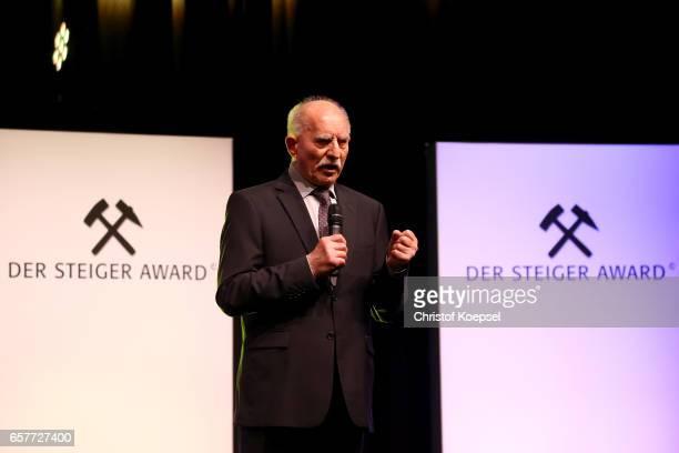 Sport commentator Werner Hansch reacts after winning the life's work award during the Steiger Award on at Coal Mine Hansemann 'Alte Kaue' March 25...
