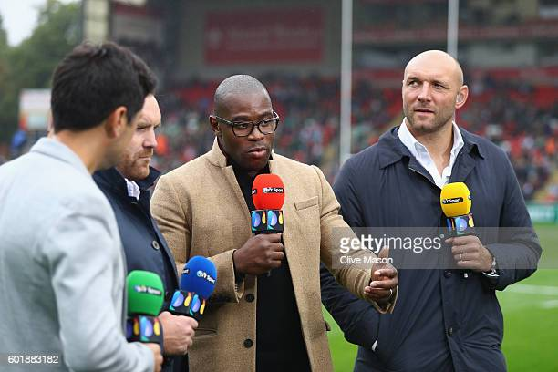 Sport commentators are seen working prior to the Aviva Premiership match between Leicester Tigers and Wasps at Welford Road on September 10 2016 in...