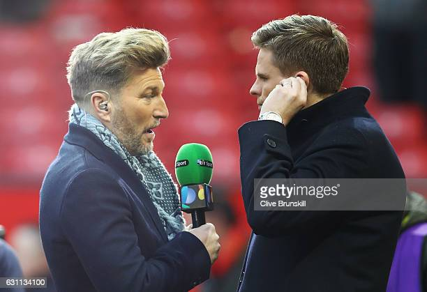 Sport commentators Robbie Savage and Jake Humphrey talk after the Emirates FA Cup third round match between Manchester United and Reading at Old...