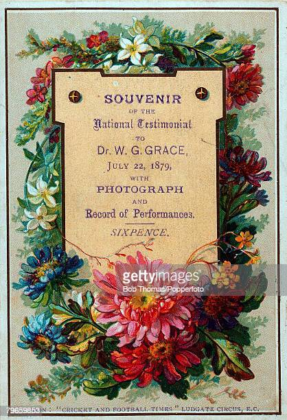 Sport, Cricket, 22nd July 1879, The front cover, bedecked in flowers, of a Souvenir of the National Testimonial to Dr WG Grace , the most famous of...