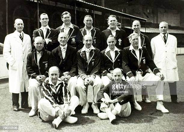 Sport Cricket 23rd May 1946 Old England v Surrey at the Oval Match drawn The England veterans pose for a team photograph with Bodyline captain...