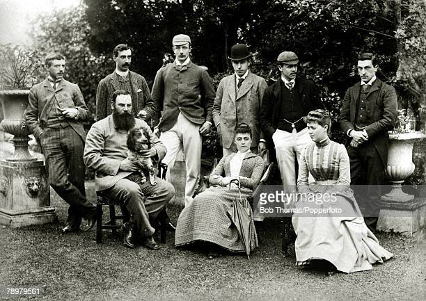 Sport Cricket 3rd May 1889 Cardiff Mr and Mrs JHBrain with some of heir guests at Highmead prior to the cricket match between MrJHBrain's XI and the...