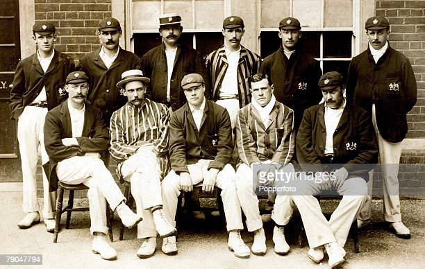 Sport Cricket A group picture of the Gloucester XI team Back row Spry Wathall Hale Denett Langdon Higgins Front row Board Mr SAP Kitcat Mr TH Fowler...