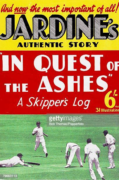 Sport, Cricket An advertising poster for Douglas Jardine+s book ,In Quest of the Ashes The England captain+s version of events during the infamous...