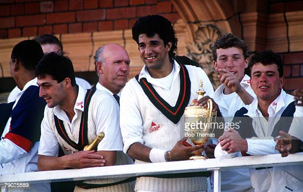 Sport Cricket Benson Hedges Cup Final Lords Middlesex England 14th July 1990 Lancashire beat Worcestershire Lancashire's LR Mike Watkinson Wasim...