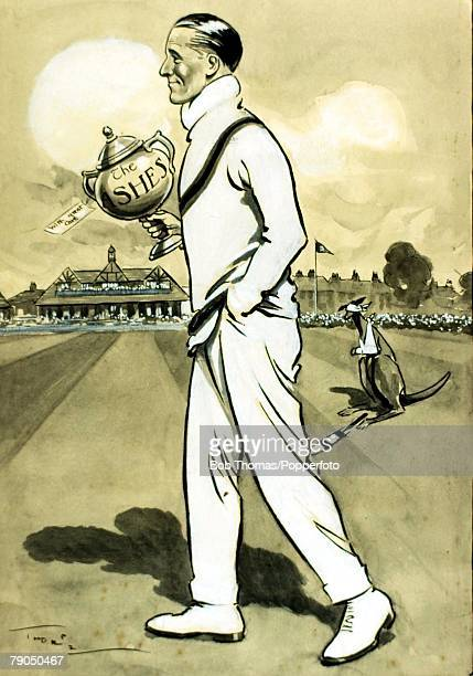 Sport Cricket Cartoon featuring JWHT Douglas who was selected to captain the England team for their tour of Australia in 192021