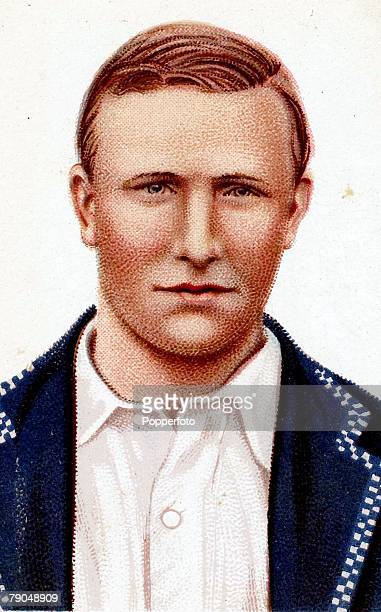 Sport Cricket Cigarette cards Circa 1900 A portrait of AO Jones who played for England Bedford Cambridge and Nottinghamshire