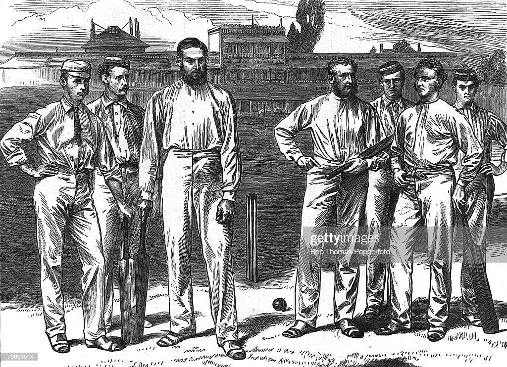 Sport, Cricket, Circa 1870, A group of Gentlemen cricketers, L-R: C,I, Thornton, C,E, Green, Dr W,G, Grace, V,E, Walker, F,C, Cobden, W,B, Money, F,E,R, Fryer : News Photo