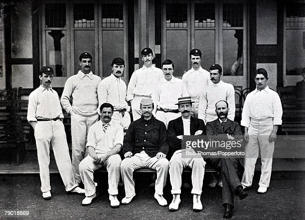 Sport Cricket Circa 1895 Warwickshire County Cricket team Back row LR Whitehead Driver Pallett JE Hill Lilley W Quaife Law WG Quaife Front row LR...