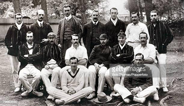 Sport Cricket Circa 1907 South Africa touring team Back row LR G Faulkner A Nourse J Sinclair G Allsop S D Snooke A Vogler G White Middle row LR M...