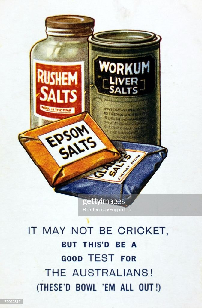 Sport. Cricket. Circa 1930. Postcard illustration advertising Epsom salts with reference to the Australian touring team. : News Photo