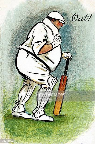 Sport Cricket Colour illustration Circa 1905 Overweight batsman makes his way off in an illustration entitled 'Out'