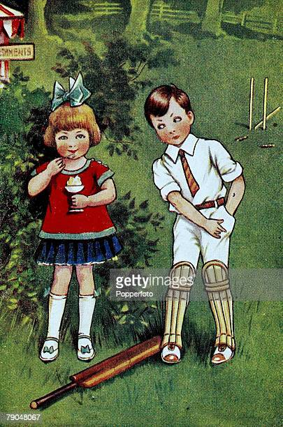 Sport Cricket Colour illustration Circa 1920 Two children feature on an illustration entitled ' Stumped his first match'
