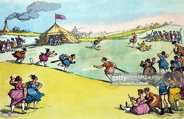 1811 This humorous illustration shows a women's cricket match between Hampshire and Surrey