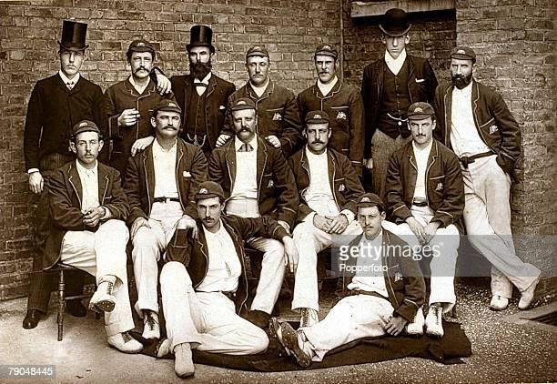 Sport Cricket Early Postcard Australia Cricket squad Back rowlr JBarrett SJones HBoyleManager HTrott KBurn HTrumble JMcBlackham Middle rowlr CTurner...