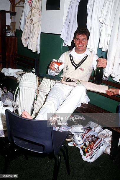 Sport Cricket England May 1988 Worcestershire's Graeme Hick celebrates with a bottle of champagne after scoring 1000 runs before the end of May