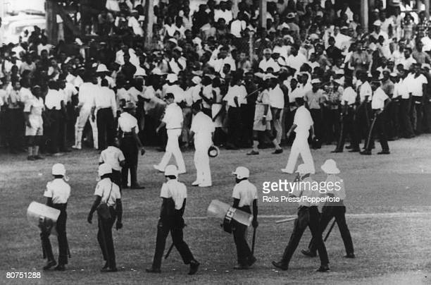 Sport Cricket England tour to the West Indies 19671968 Kingston Jamaica Second Test Match Match Drawn Spectators come onto the pitch at Sabina Park...