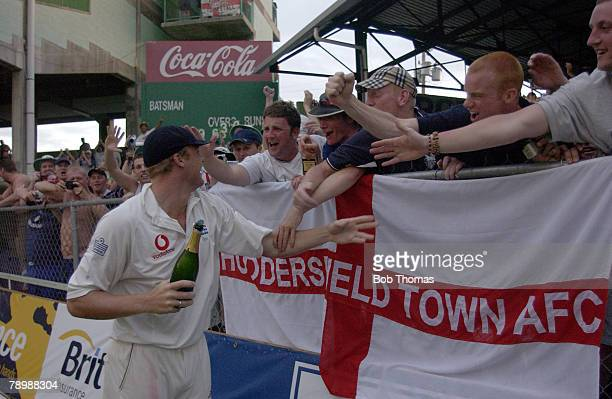 Sport Cricket England Tour to the West Indies Kensington Oval Bridgetown Barbados 3rd Test match 1st to 3rd April 2004 England beat the West Indies...