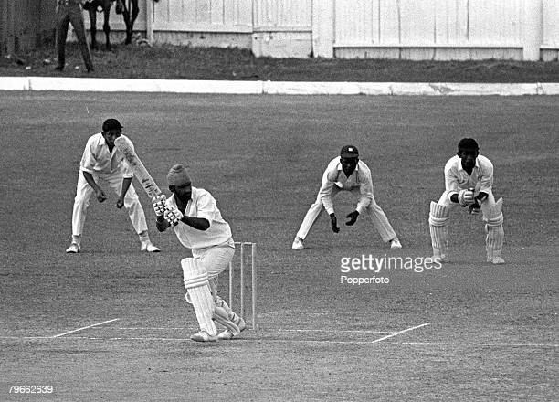 Sport Cricket Georgetown Guyana 23rd March 1971 West Indies v India Bishen Singh Bedi of the touring Indian cricket team hits a shot during the third...