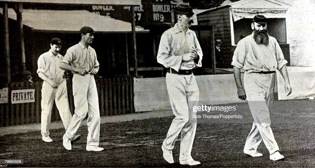 Sport, Cricket, Hastings cricket week, 1902, Dr,W,G,Grace leads out his team the Rest of England followed by Major Poore : News Photo