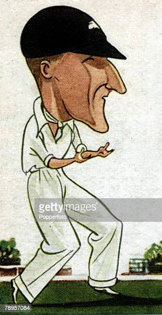 "Sport, Cricket Illustration, Caricature, pic: circa 1920's, Douglas Jardine, Surrey and England, who captained England on the infamous ""Bodyline""..."