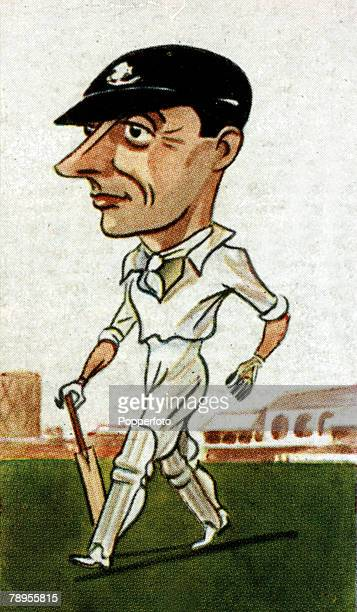 Sport Cricket Illustration Caricature pic circa 1920's Jack Hobbs Surrey and England batsman one of the great players of all time who played in 61...