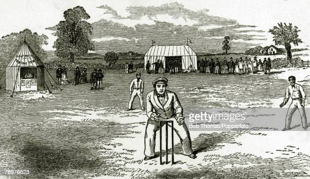 1859 The English Cricketers trip to Canada and the United States in 1859 This illustration shows Thomas Lockyer the English wicketkeeper behind the...