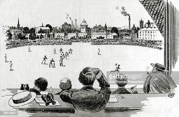 August 1893 An illustration showing the view from the Press Box during the 2nd Test match at the Oval between England and Australia which resulted in...