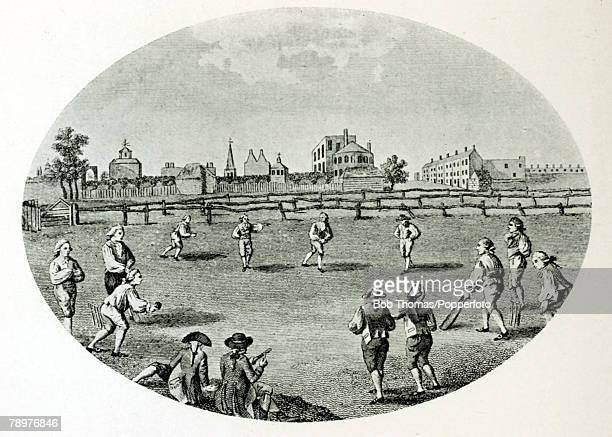 circa 1784 This illustration from a 1794 engraving shows a match at the Gentleman's Club White Conduit House Islington London