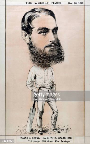 Sport, Cricket, Illustration, WG Grace pictured in an illustration from the Weekly Times published in Australia, December 20th 1873, Dr William...