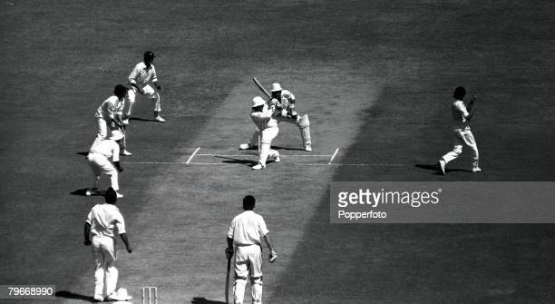 Sport Cricket India v England at Madras India 14th January 1973 England's Barry Wood hits a ball from Indian bowler Bishan Singh Bedi during the...