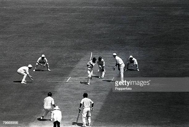 Sport Cricket Indian batsman Ajit Wadekar drives off the bowling of England's Norman Gifford during the 3rd test match at Madras India 13th January...