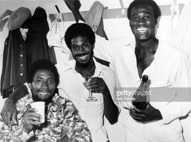 Sport Cricket July 1976 4th Test Match at Headingley West Indies beat England by 55 runs West Indies pace bowlers lr Andy Roberts Michael Holding and...