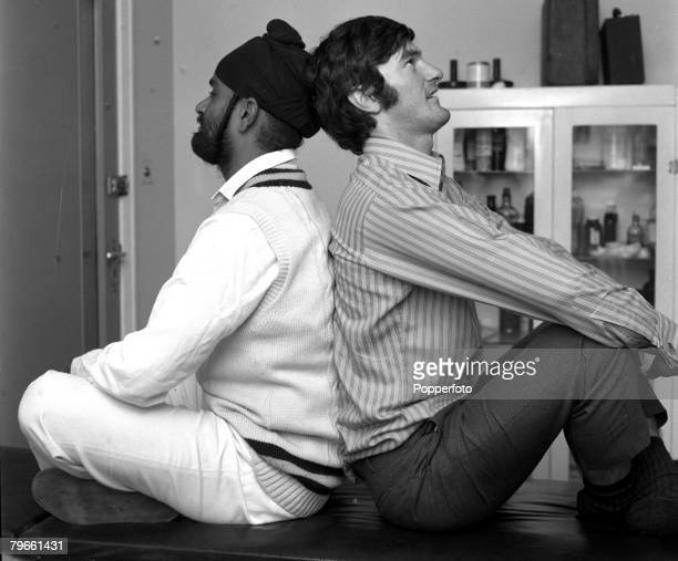 Sport Cricket Manchester England 20th August 1971 England v India England and Kent wicketkeeper Alan Knott demonstrates Yoga with Indian spin bowler...