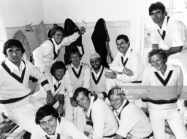 16th July 1977 Northamptonshire v Australia at Northampton A fun moment as Ray Bright centre borrows a pakta from Northamptonshire's Indian Bishen...