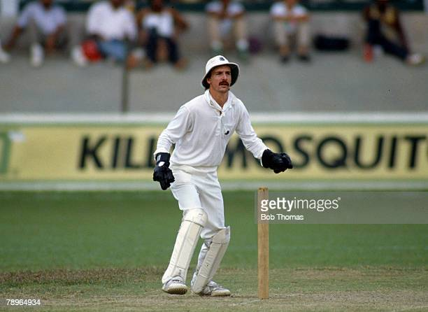 17th February 1990, One Day International in Port of Spain, West Indies v England, Jack Russell, England wicket keeper, Jack Russell, who played...
