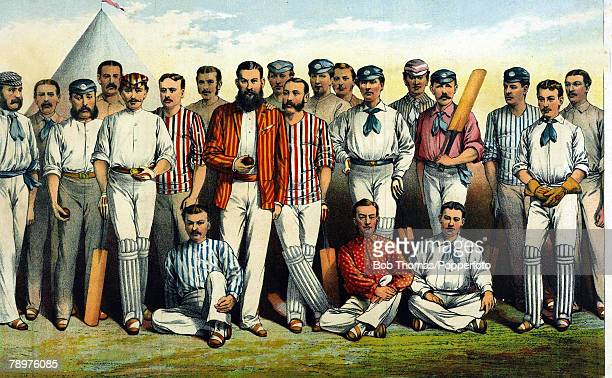 1880 This colour illustration shows Famous English cricketers Standing leftright JLillywhite JSelby AShaw GUlyett Lord Harris WRGilbert ANHornby WG...