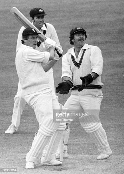 1977 First Test Match at Lord's England drew with Australia England batsman Bob Woolmer pulls a ball to the boundary during his match saving innings...