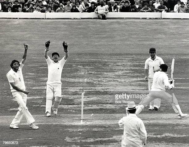 1980 The Ashes Centenary Test Match at Lord's England v Australia England wicketkeeper David Bairstow who had made a stumping and Mike Hendrick...