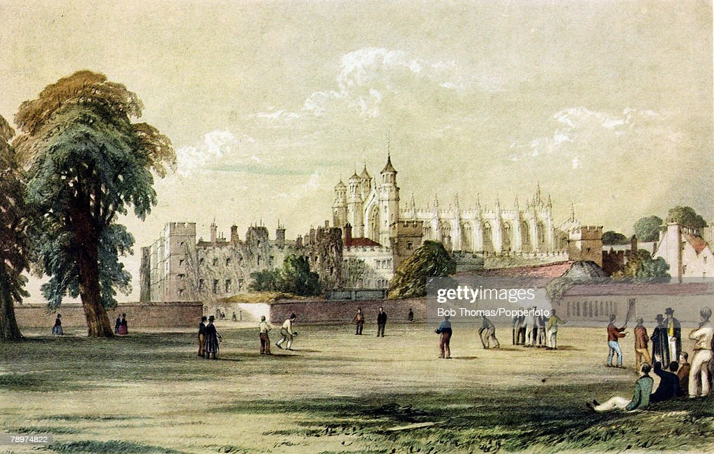 Sport. Cricket. pic: 19th Century. This illustration shows a general view of Eton College with cricket being played. : News Photo