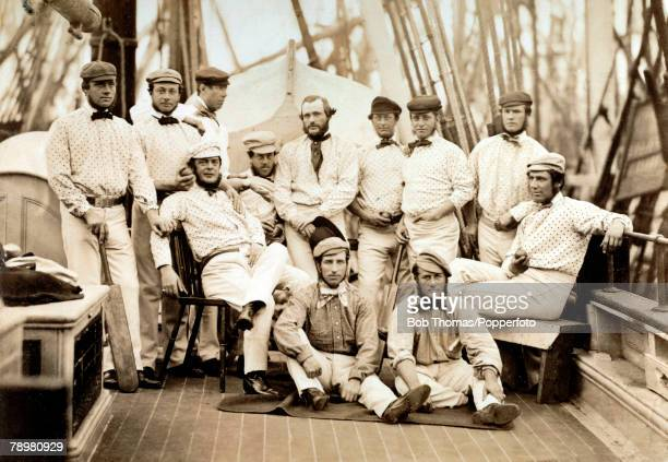 1st September 1859 England's Twelve Champion Cricketers The England cricketers on the morning of their departure on board ship at Liverpool prior to...
