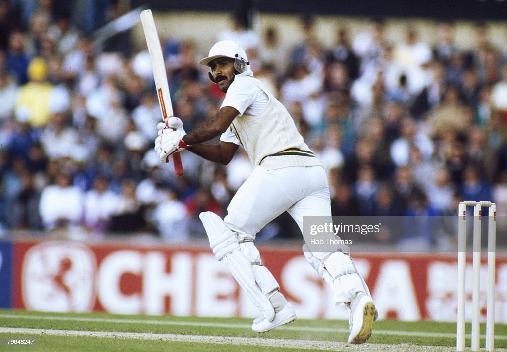 BT Sport, Cricket, pic: 21st May 1987, Texaco Trophy One Day International at The Oval, England beat Pakistan by 7 wickets, Javed Miandad, the Pakistan batsman, one of their greatest players, played in 124 Test matches for Pakistan between 1976-1993 : News Photo