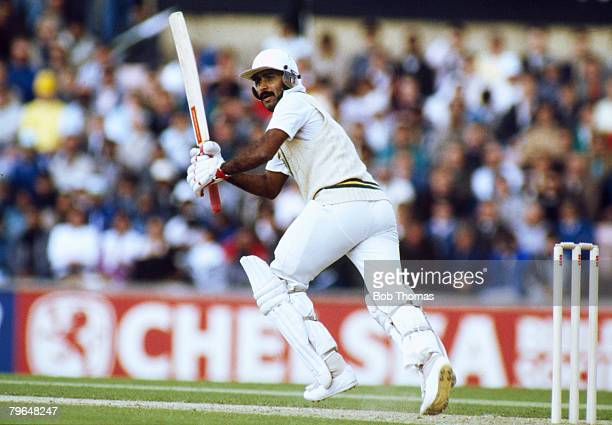 21st May 1987 Texaco Trophy One Day International at The Oval England beat Pakistan by 7 wickets Javed Miandad the Pakistan batsman one of their...
