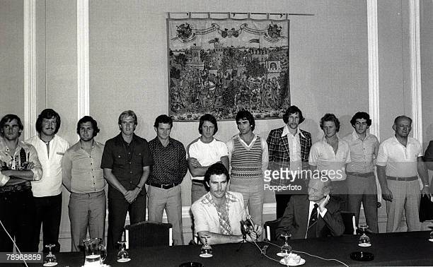 22nd April 1977 Australian cricket touring party pictured at a London press conference with captain Greg Chappell at the microphone