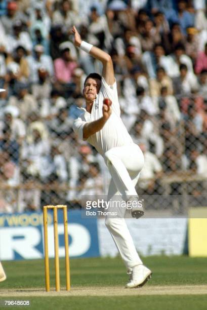 22nd October 1987 Cricket World Cup in Delhi India beat Australia by 56 runs Craig McDermott Australia fast bowler who played for Australia in 71...