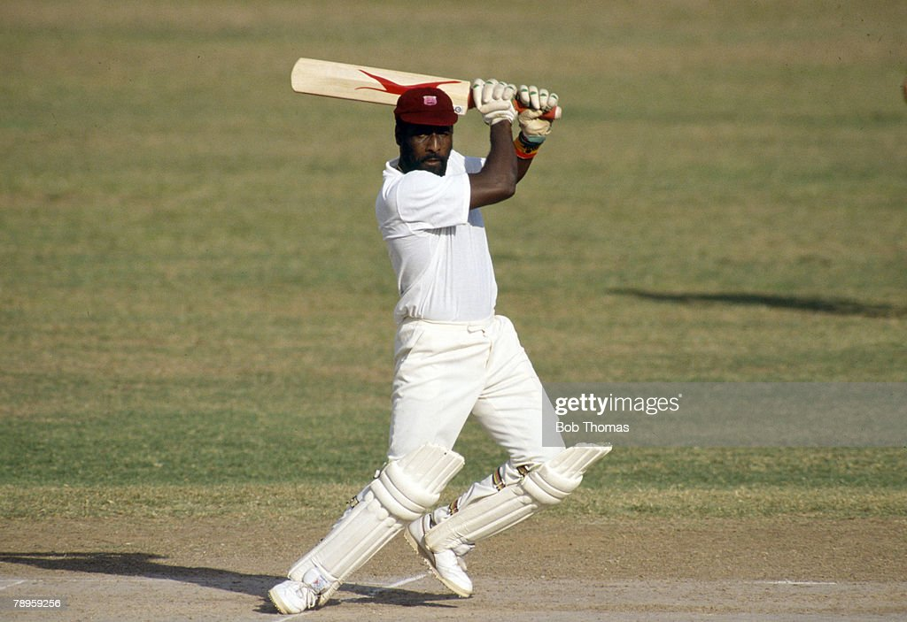 Sport. Cricket. pic: 24/2-1/3 1990. Ist Test Match in Kingston. England beat West Indies by 9 wickets. Viv Richards, West Indies. Viv Richards played in 121 Test matches for West Indies between 1974-1991 and was one of the best batsman of all time. : News Photo