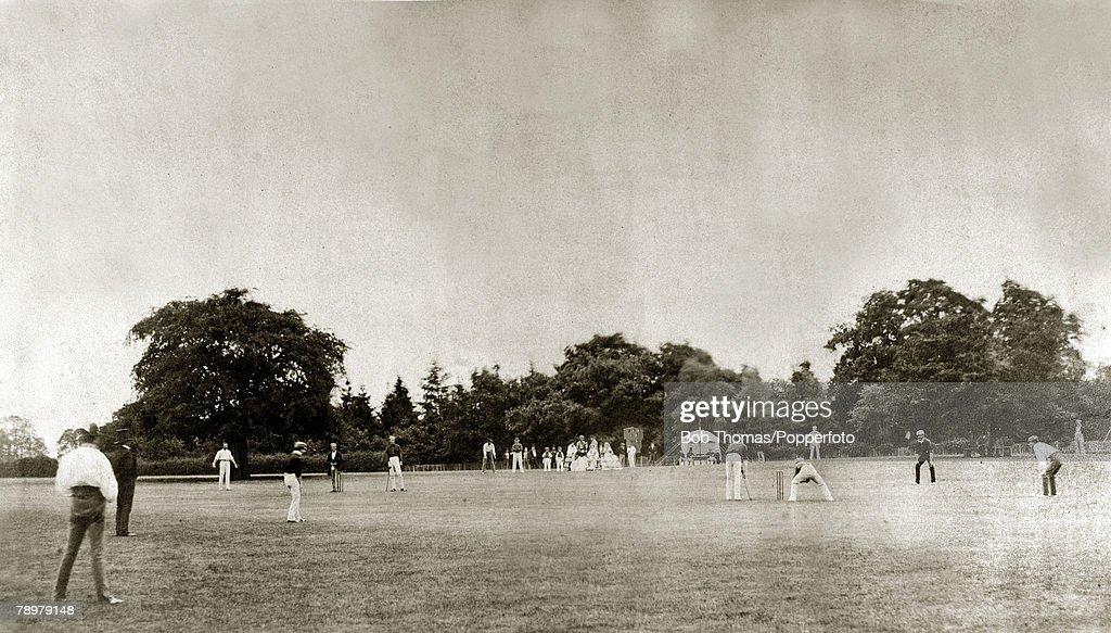Sport. Cricket. pic: 25th July 1857. This image shows a cricket match between the Royal Artillery and the Hunsdonbury Club at Hunsdonbury. This picture taken by Roger Fenton is historic, as being the earliest recorded action cricket photograph. : News Photo