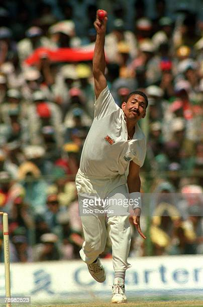 26th February 1993 England Tour of India 3rd One Day International in Bangalore England beat West Indies by 6 wickets Phillip DeFreitas England...