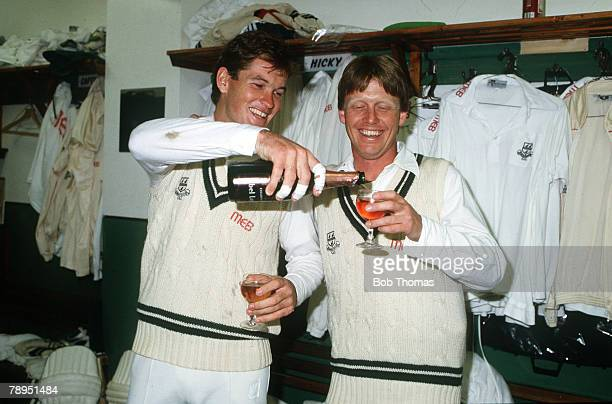 28th May 1988 Worcestershire's Graeme Hick left celebrates his scoring 1000 runs before the end of May with fellow opener Tim Curtis Graeme Hick...